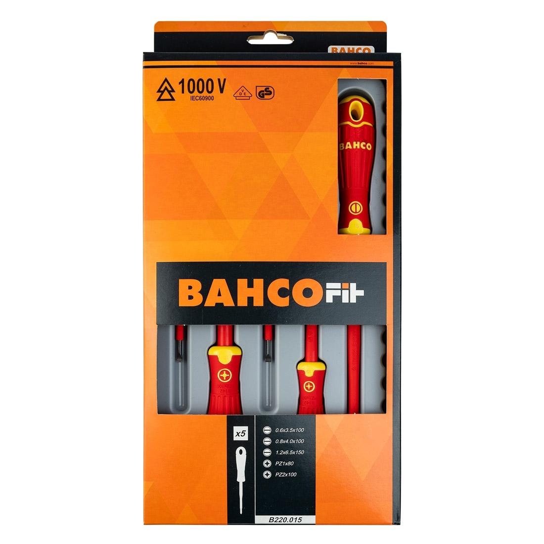 Bahco B220.015 BAHCOFIT Insulated PZ/SL Screwdriver Set 5 Pcs