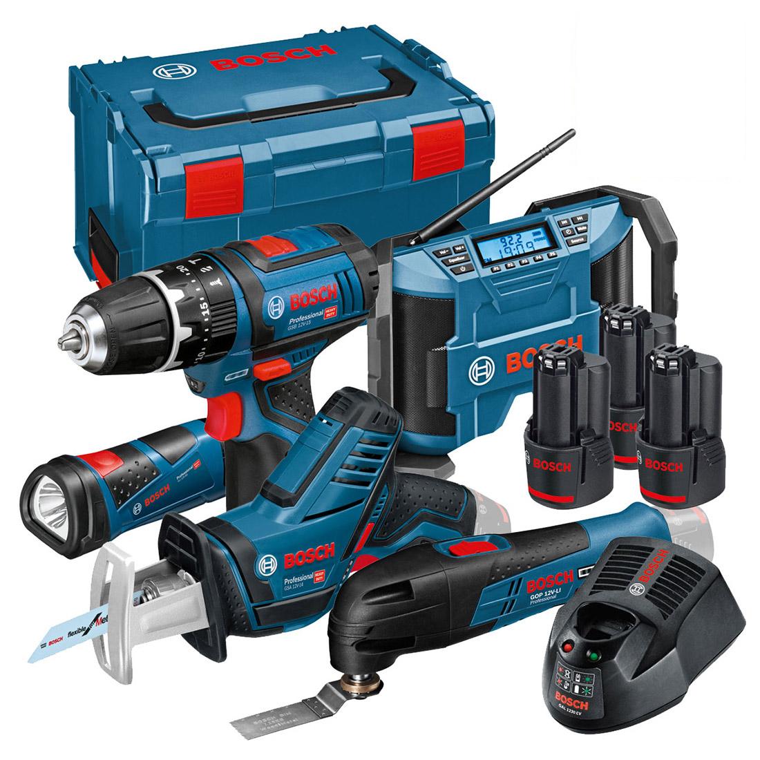 Bosch 12VGSBGPBFIVE 5 Piece 12v Tool Kit with 3x 2.0Ah Batts in L-Boxx 0615990GF1