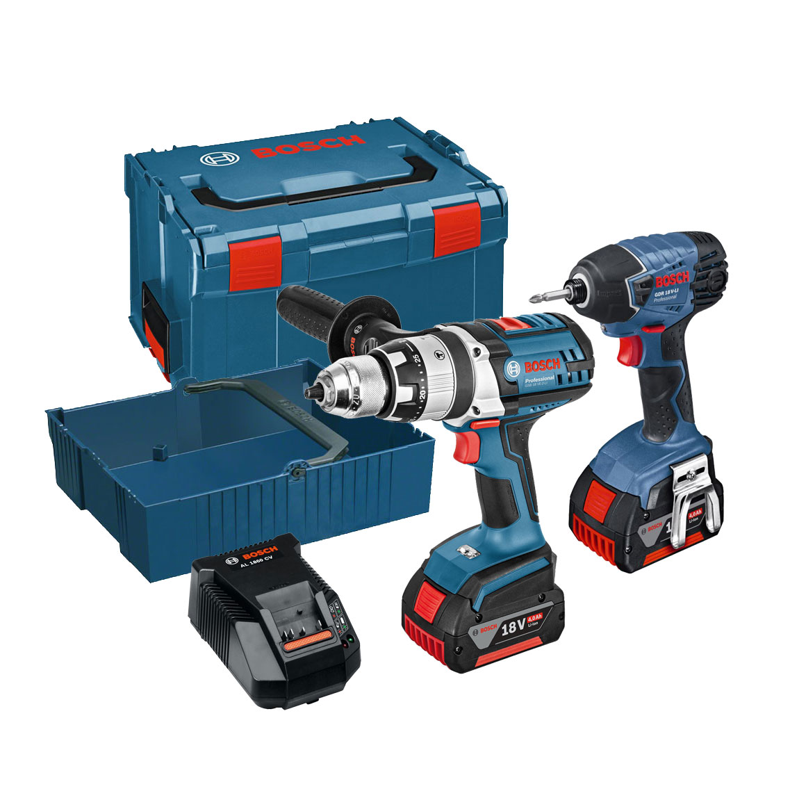 Bosch 18v Combi Drill & Impact Driver Twin Kit with 2x 4.0Ah Batteries in L-Boxx Carry Case 0615990G2Y