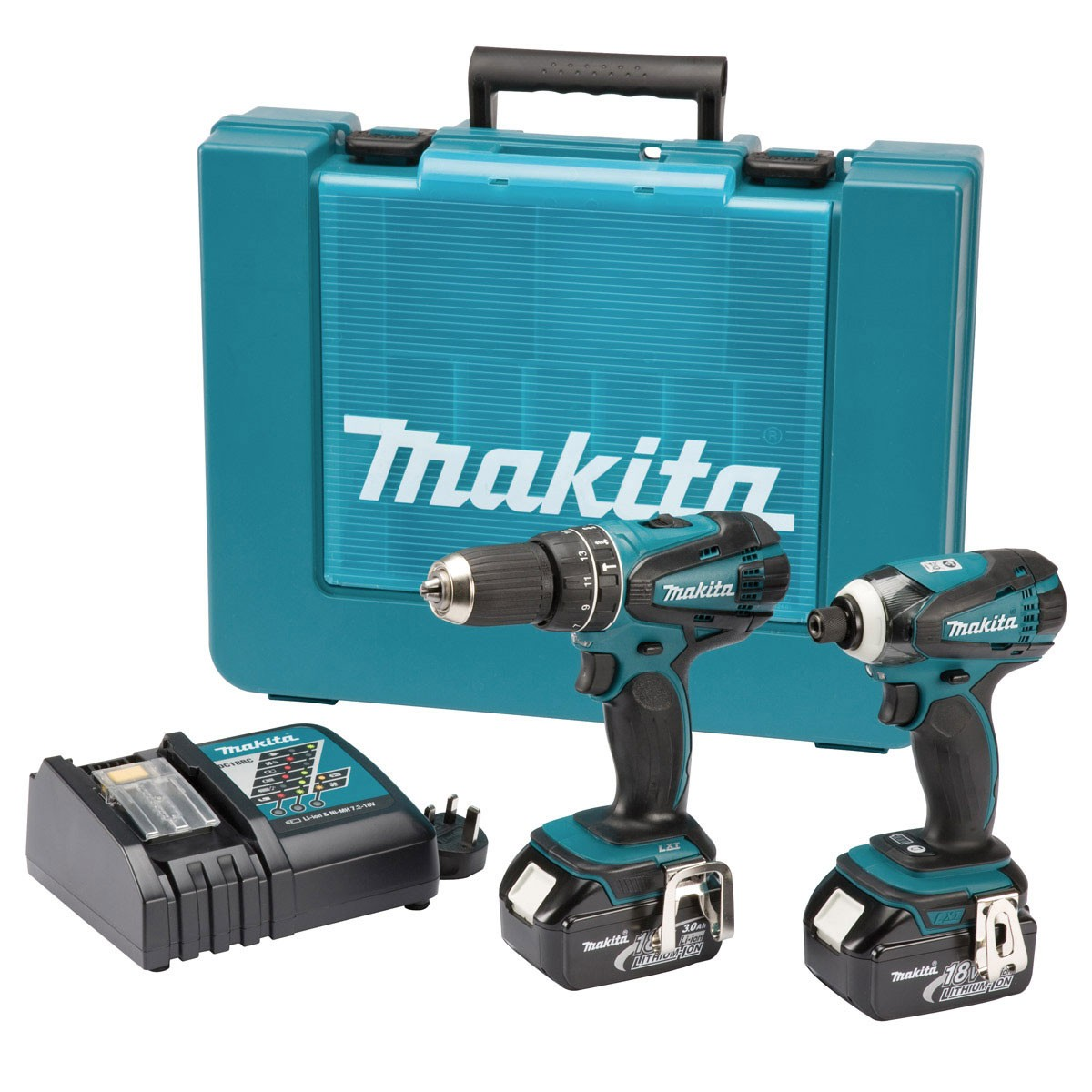 makita dlx2012 18v combi drill impact driver 2 x 3ah li. Black Bedroom Furniture Sets. Home Design Ideas