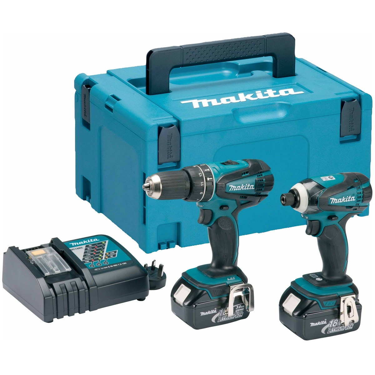 makita dlx2012mj 18v combi drill impact driver kit inc. Black Bedroom Furniture Sets. Home Design Ideas