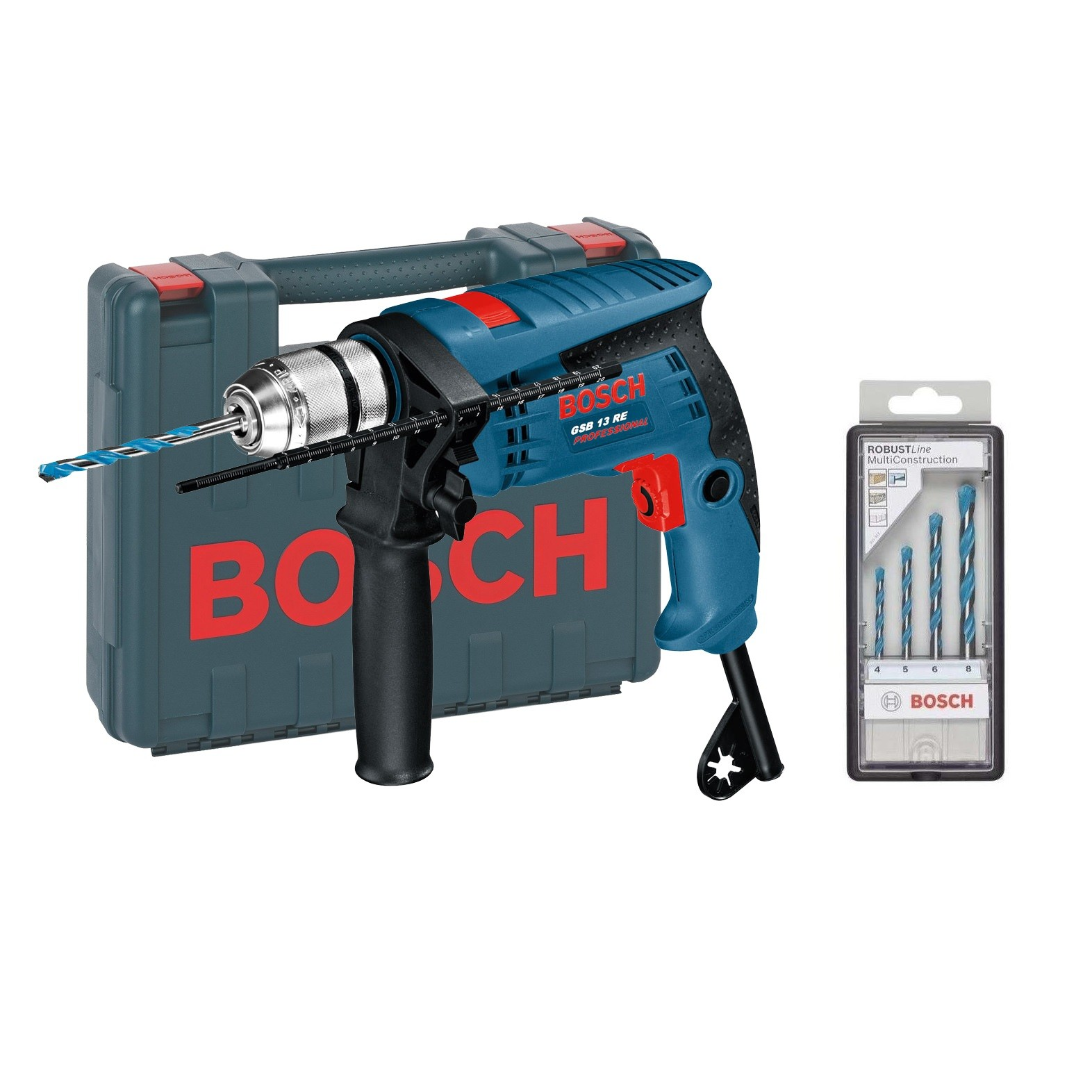bosch gsb 13 re 600w impact percussion drill in carry case with drill bits powertool world. Black Bedroom Furniture Sets. Home Design Ideas