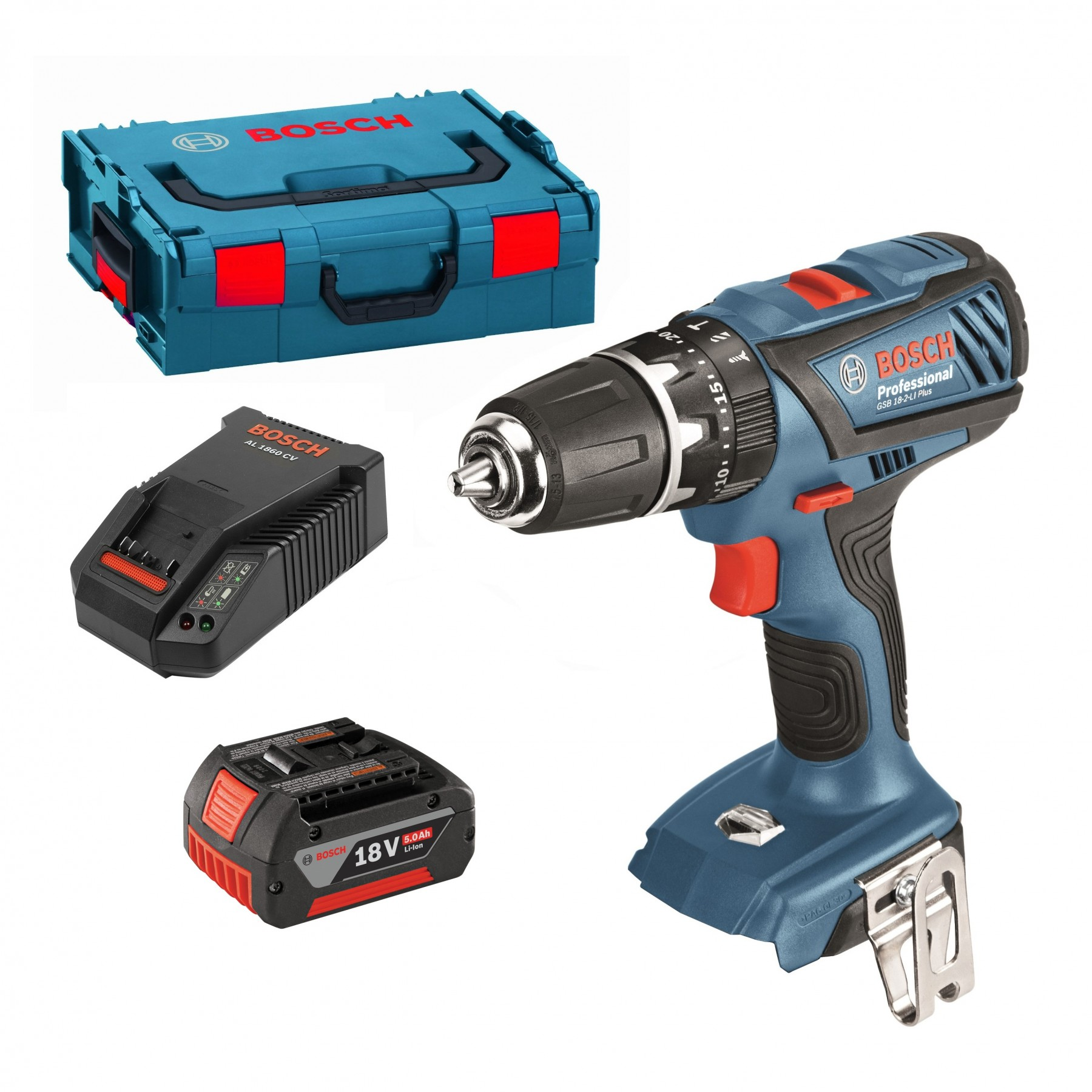 bosch gsb 18 2 li plus 18v combi drill inc 1x 5 0ah battery in l boxx 0615990hc7 powertool world. Black Bedroom Furniture Sets. Home Design Ideas