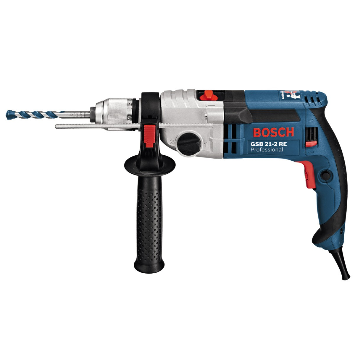 bosch gsb 21 2 re two speed 1100w impact percussion drill powertool world. Black Bedroom Furniture Sets. Home Design Ideas