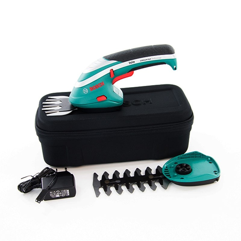 bosch green isio shrub grass cordless shear set in carry case 0600833172 powertool world. Black Bedroom Furniture Sets. Home Design Ideas