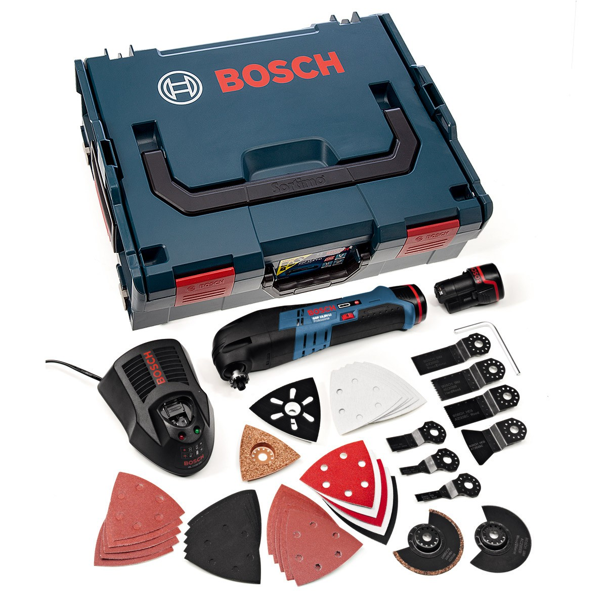 Bosch gop 10 8 v li multi cutter inc 2x 2 5ah batt 36 accessories in l boxx 060185807f - Bosch 10 8 v ...