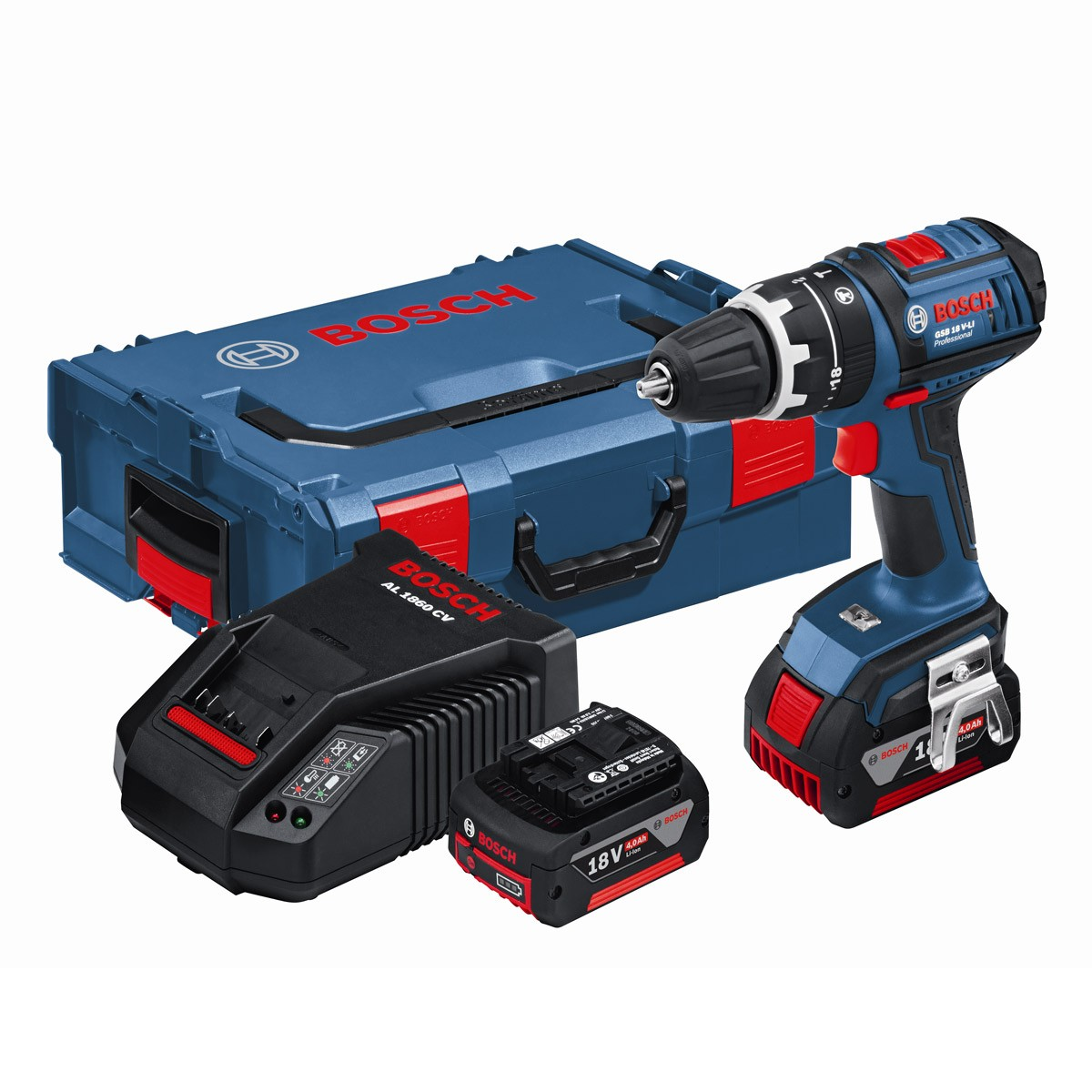Bosch GSB 18 V-LI Combi Drill Dynamic Series inc 2x 4Ah Batts