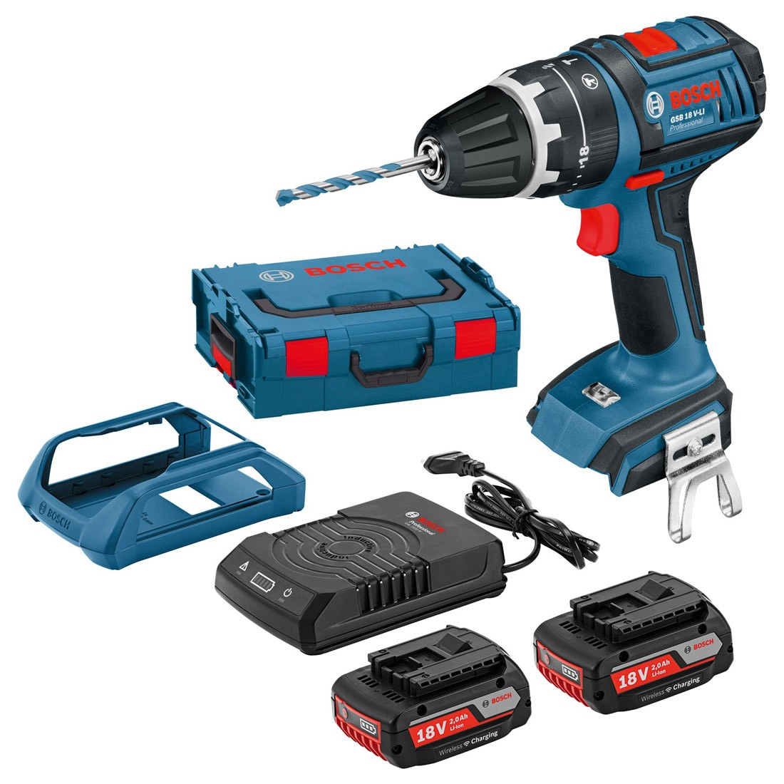 Bosch GSB 18 V-LI Combi Drill inc 2x 2.0Ah WIRELESS CHARGING 060186717N