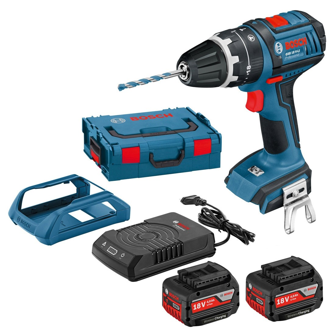 Bosch GSB 18 V-LI Combi Drill inc 2x 4.0Ah WIRELESS CHARGING 060186717L