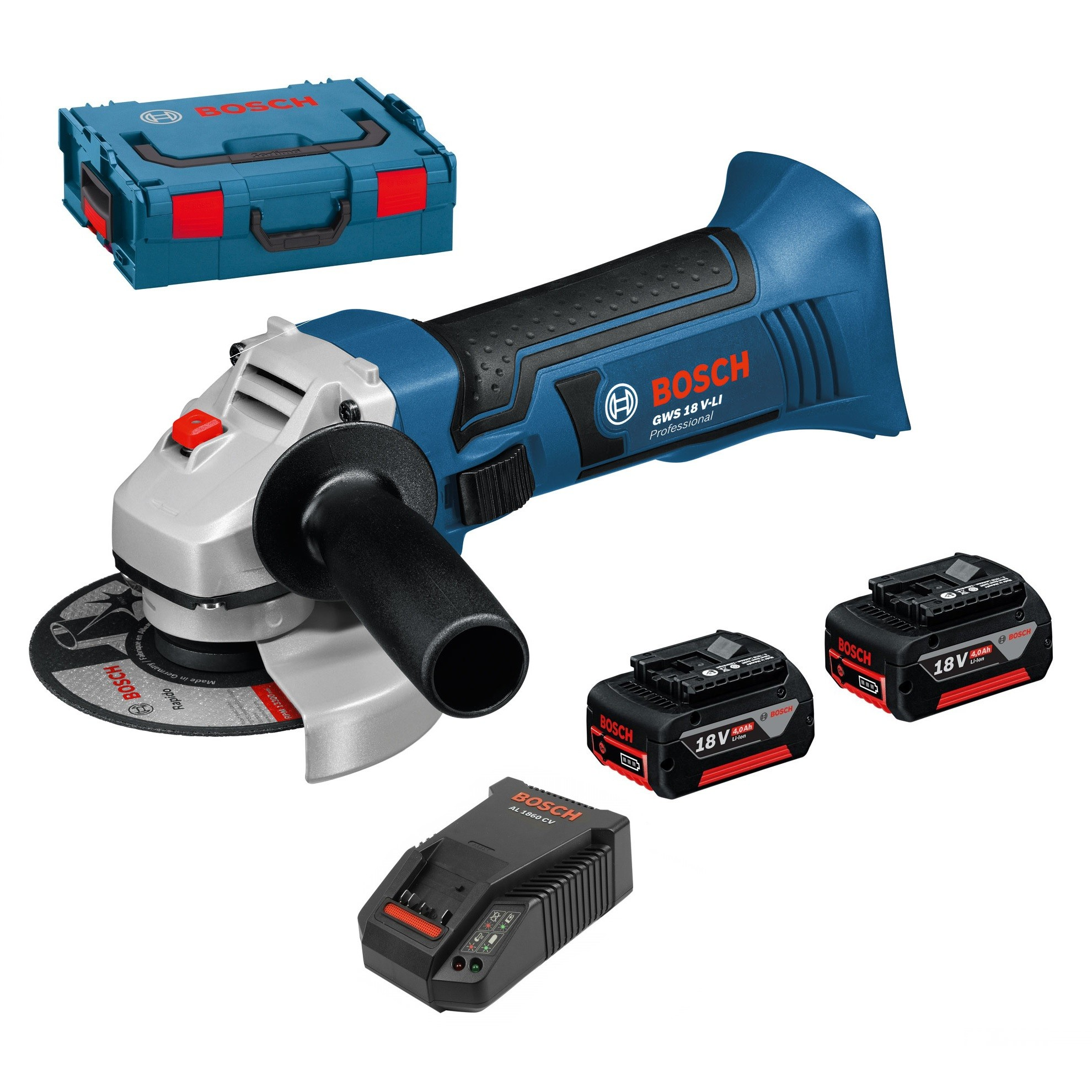 Bosch GWS 18 V-LI Angle Grinder inc 2x 4Ah Batts in L-Boxx 115mm / 4.5""