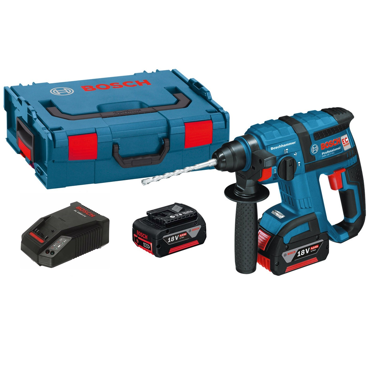 Bosch GBH 18 V-EC Brushless SDS+ Rotary Hammer inc 2x 4Ah Batts 0615990HH1