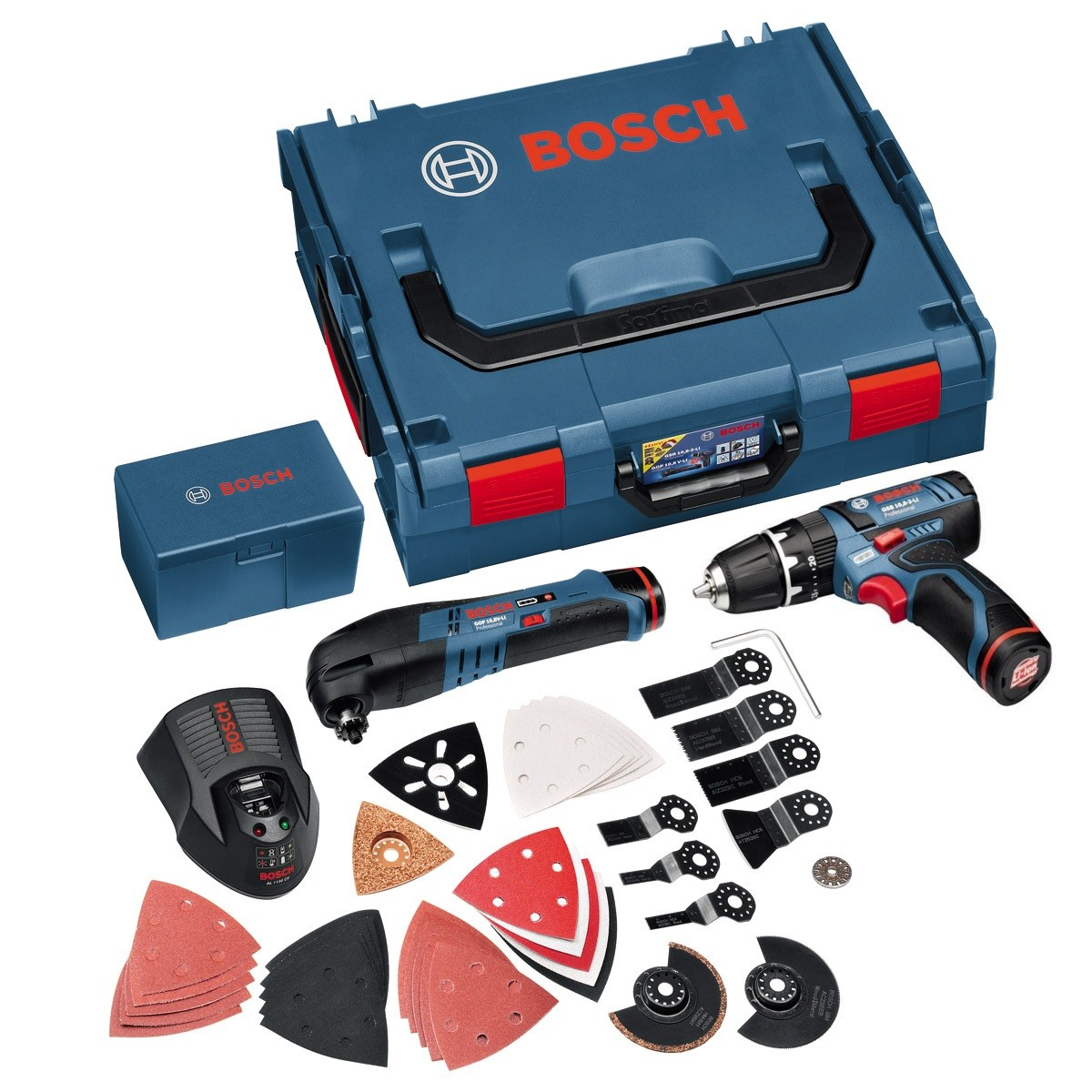 Bosch GOP & GSB 10.8v Multi Cutter & Combi Drill Twin Kit inc 2x 1.5Ah Batts & Charger in L-Boxx