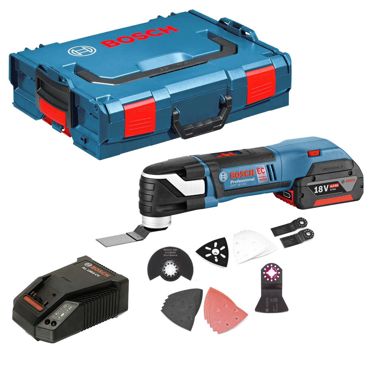 bosch gop 18 v ec brushless multi cutter with 20 accessories inc 1x 4ah battery charger in l. Black Bedroom Furniture Sets. Home Design Ideas