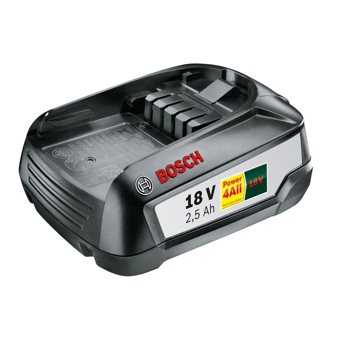 bosch green 18v 2 5ah lithium ion battery power4all 1600a005b0 powertool world. Black Bedroom Furniture Sets. Home Design Ideas