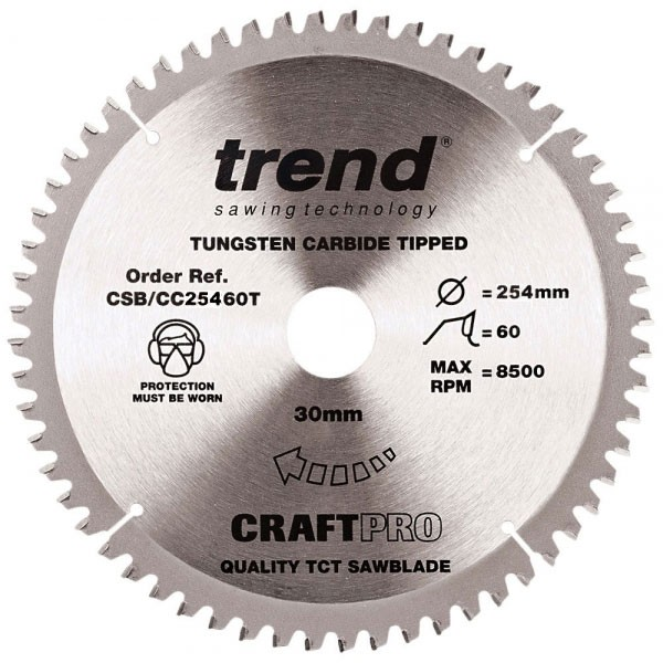 Trend CSB/CC25460T CraftPro Saw Blade Crosscut 254mm x 60 Teeth x 30mm Thin Kerf
