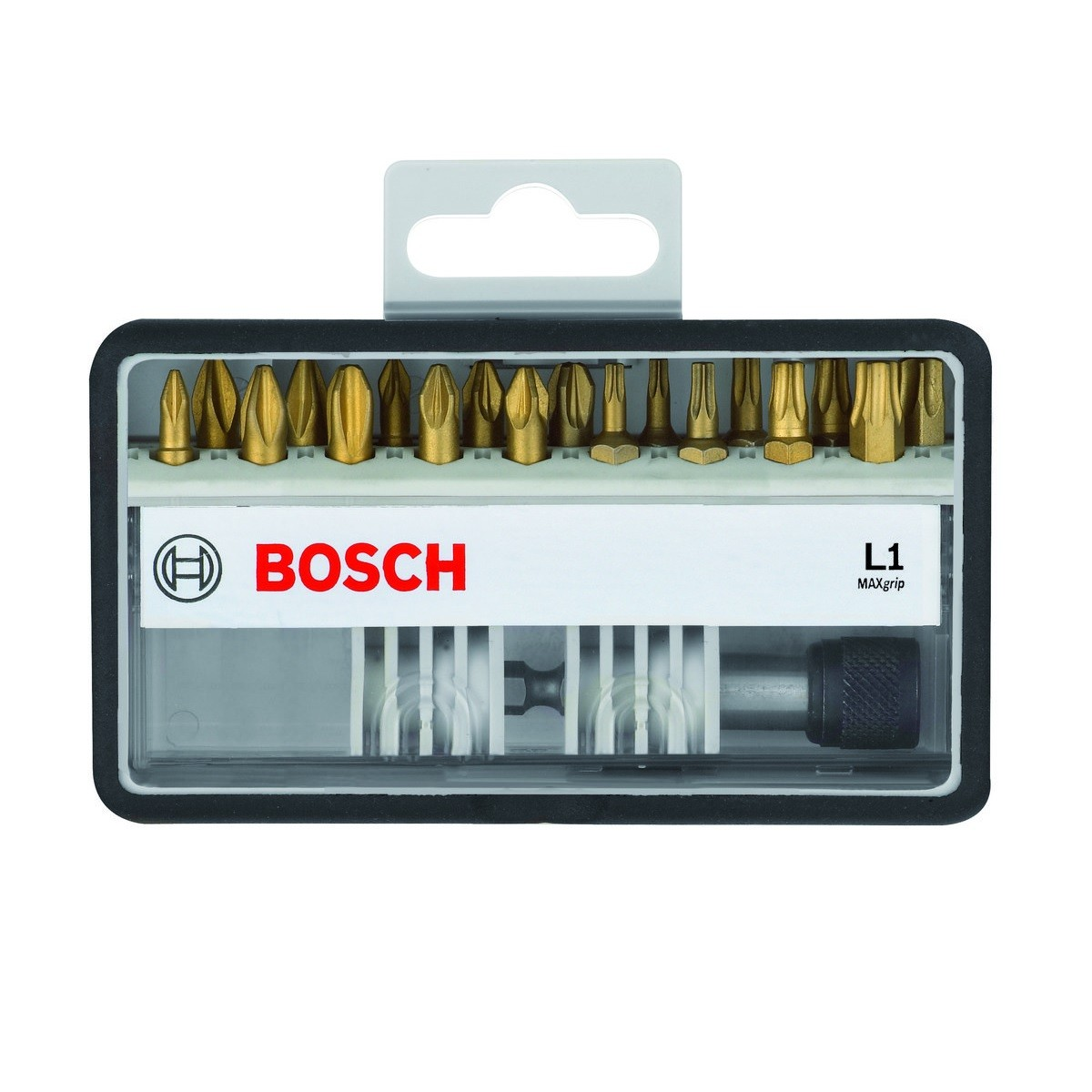 Bosch 18+1 Piece L1 MAXgrip TiN Pozi, Phillips & Torx 25mm Screwdriver Bit Set 2607002581