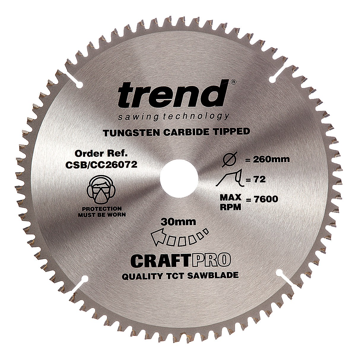Trend CSB/CC26072 CraftPro Saw Blade Crosscut 260mm x 72 Teeth x 30mm