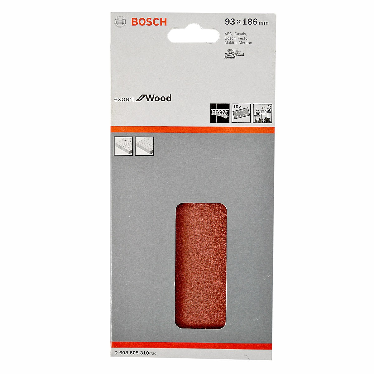 Bosch Assorted Sanding Sheets for Orbital Sanders for Wood 93 x 186mm x10 Pcs 2608605310