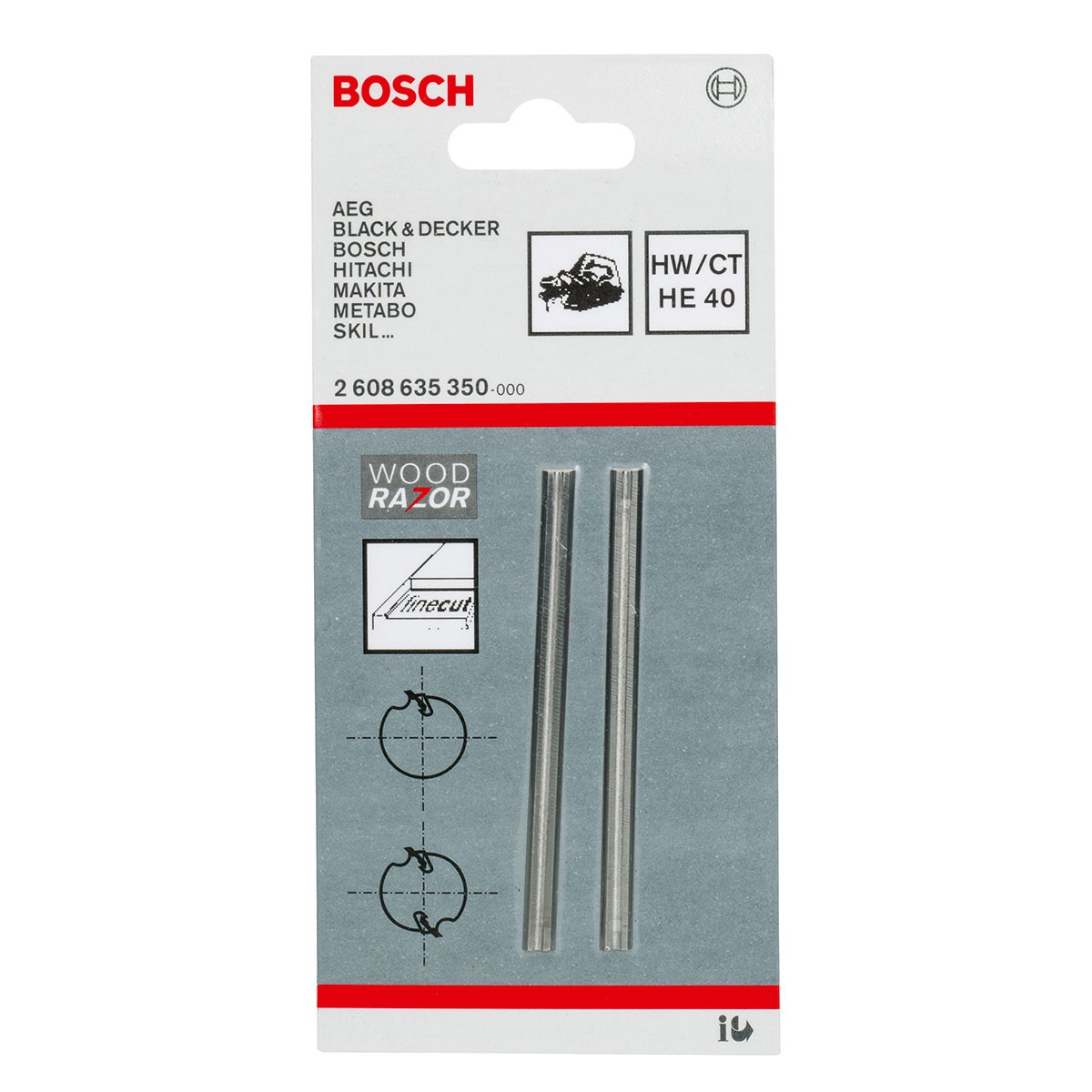 Bosch Tungsten Carbide Woodrazor Planer Blades 2x 82mm 2608635350