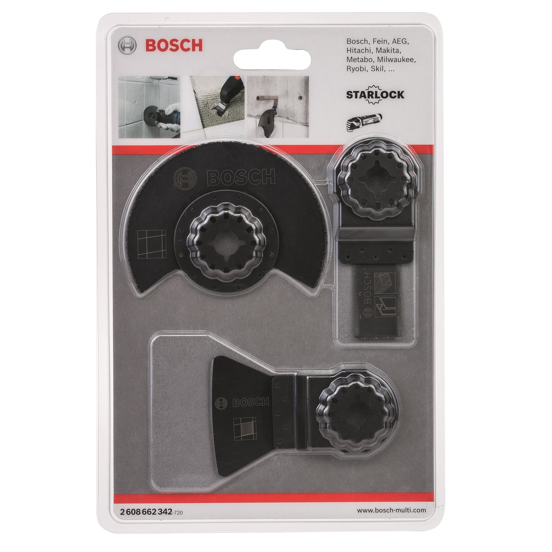 Bosch Starlock Universal Multi-Cutter Blade Set for Ceramic Tiles x3 Pcs 2608662342