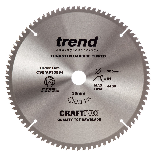 Trend CSB/AP30584 CraftPro Saw Blade Aluminium / Plastic 305mm x 84 Teeth x 30mm
