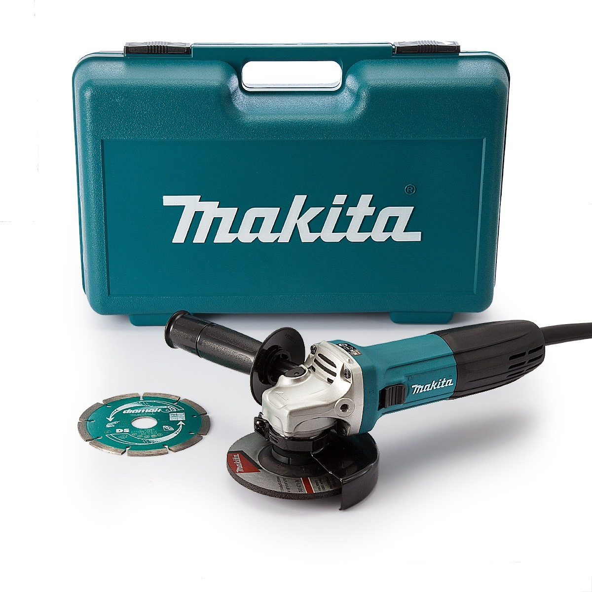 Makita GA4530RKD 115mm Slim Angle Grinder with Anti-Restart & Diamond Blade in Carry Case