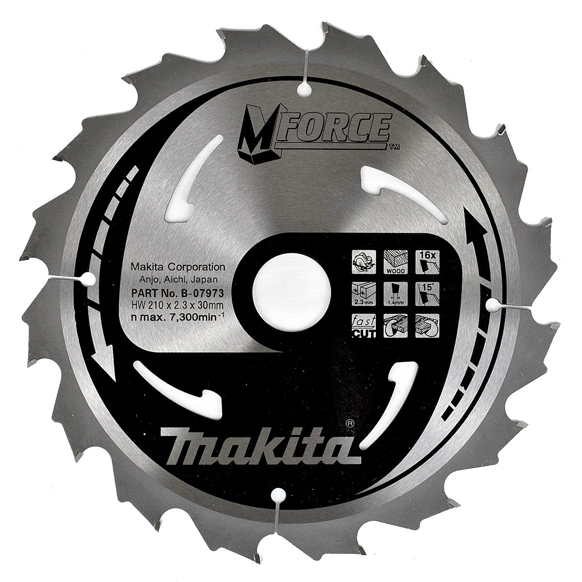 Makita B-07973 210mm x 30mm x 16T Circular Saw Blade MForce
