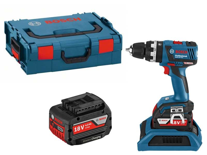 Bosch GSB 18 V-EC Professional Brushless Combi Drill inc 2x 4Ah WIRELESS CHARGING 06019D7175
