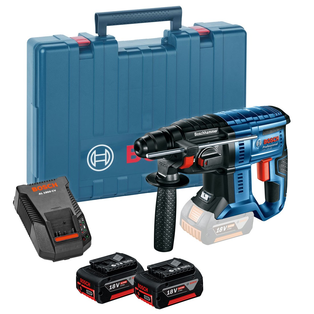 bosch gbh 18 v 20 sds plus cordless rotary hammer inc 2x. Black Bedroom Furniture Sets. Home Design Ideas