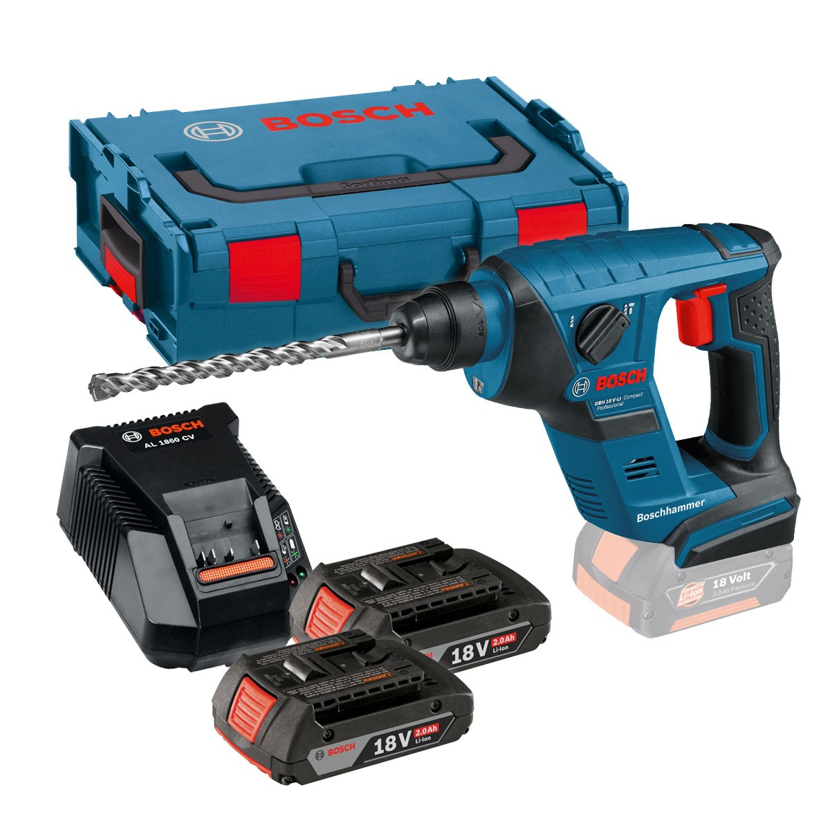 bosch gbh 18 v li cp compact sds plus rotary hammer inc 2x 2 0ah batteries al 1860 cv charger. Black Bedroom Furniture Sets. Home Design Ideas