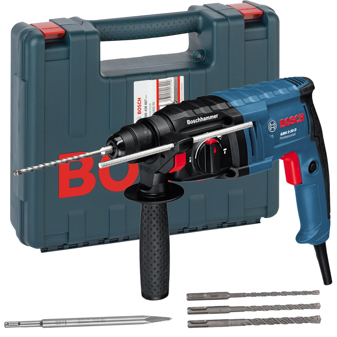 bosch gbh 2 20 d sds plus rotary hammer drill inc 3x drill bits 1x chisel 061125a465. Black Bedroom Furniture Sets. Home Design Ideas