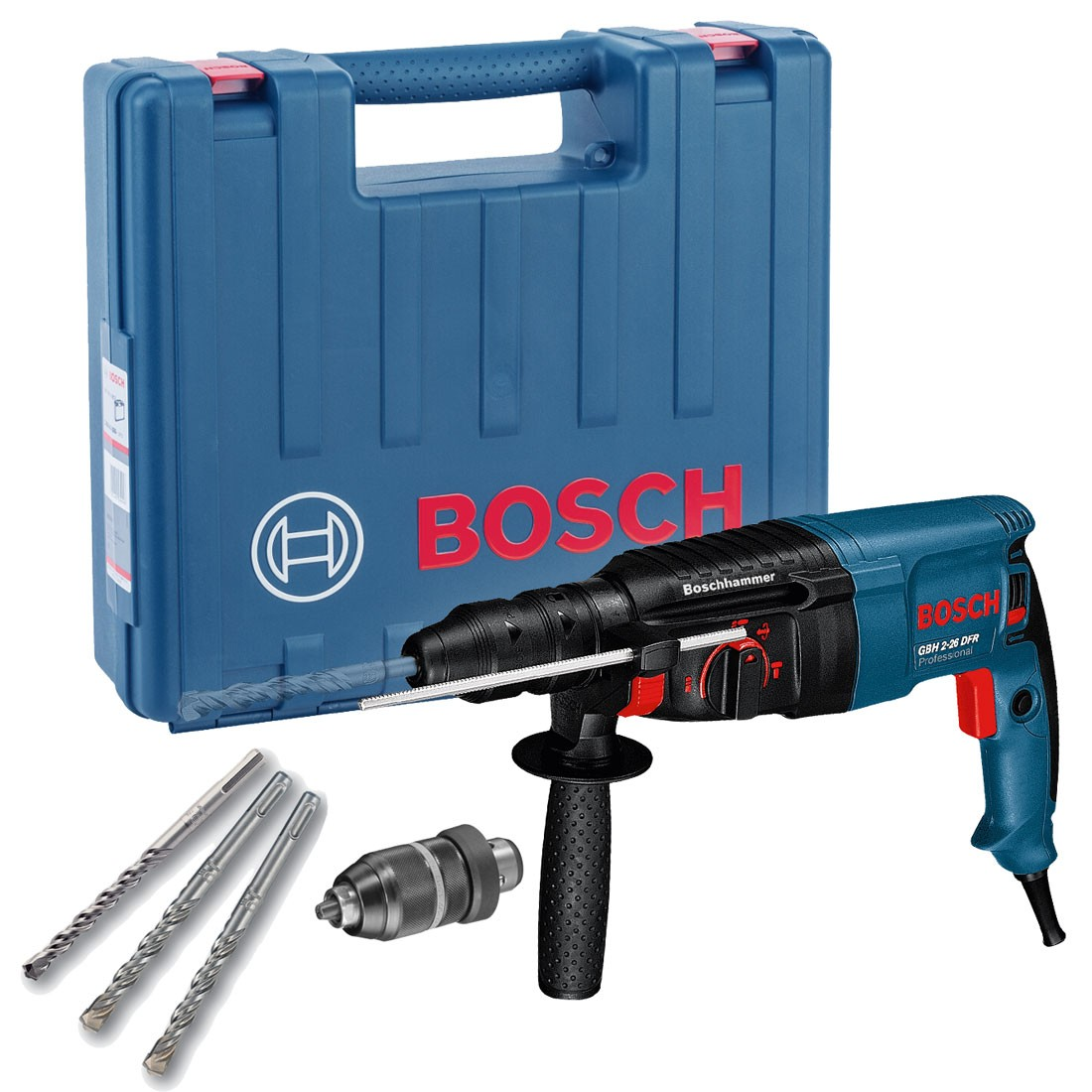 bosch gbh 2 26 dfr sds plus rotary hammer drill in carry case with qcc powertool world. Black Bedroom Furniture Sets. Home Design Ideas