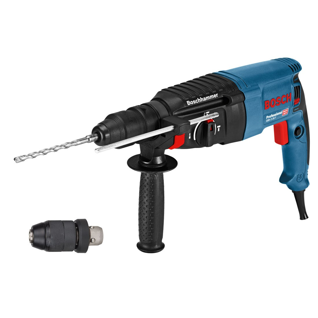 bosch gbh 2 26 f sds plus rotary hammer drill with quick change chuck in carry case powertool. Black Bedroom Furniture Sets. Home Design Ideas