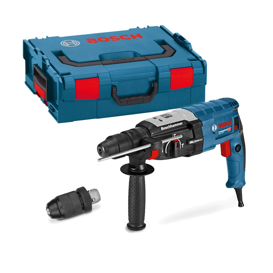 bosch gbh 2 28 f sds plus rotary hammer drill with qcc in carry case powertool world. Black Bedroom Furniture Sets. Home Design Ideas