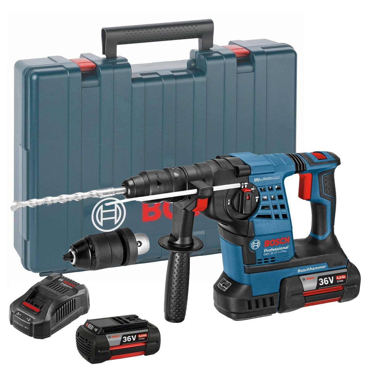 Bosch GBH 36 VF-LI Plus 36v SDS+ Rotary Hammer inc 2x 4Ah Batts & QCC