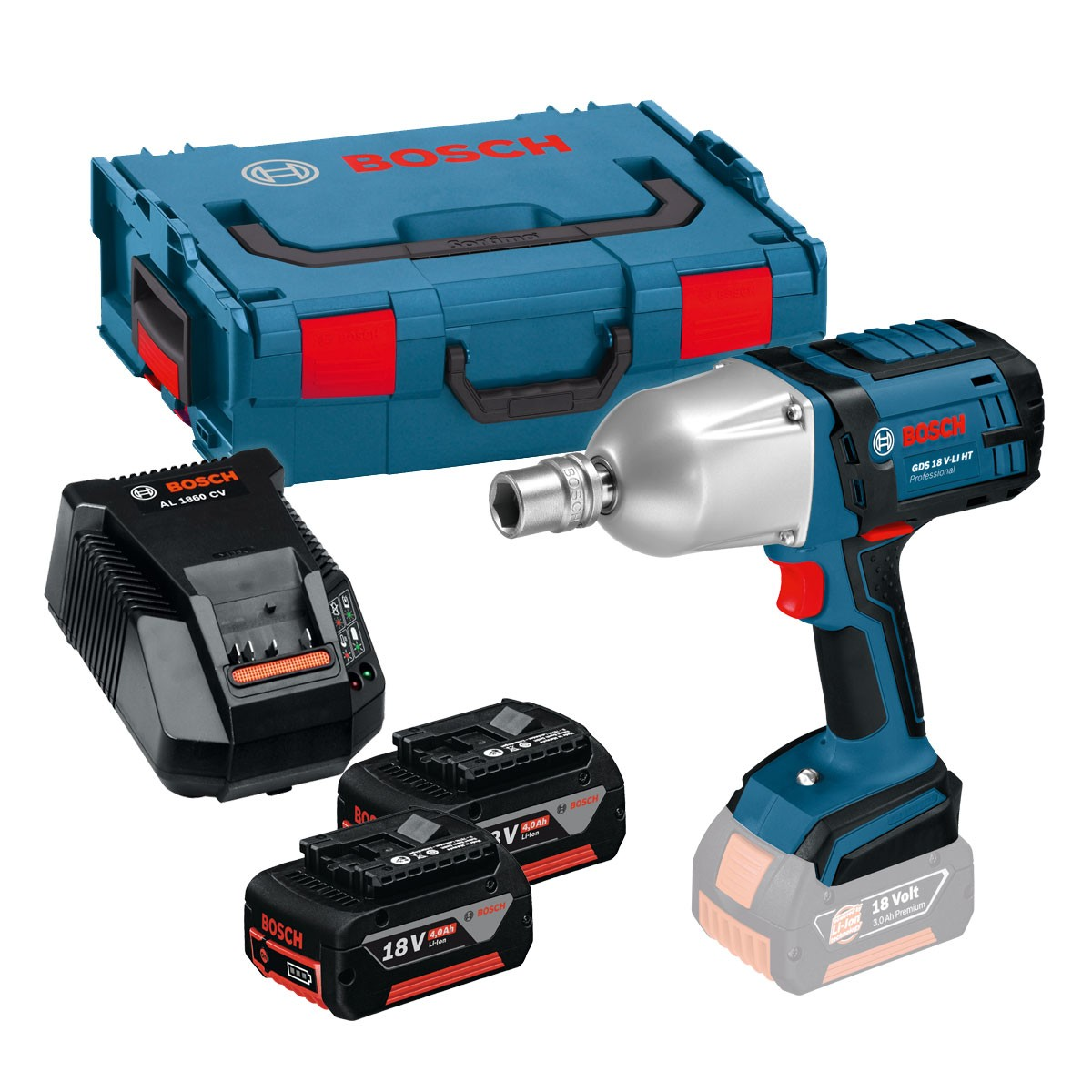 Bosch GDS 18 V-LI HT High Torque Impact Wrench inc 2x 4Ah Batts