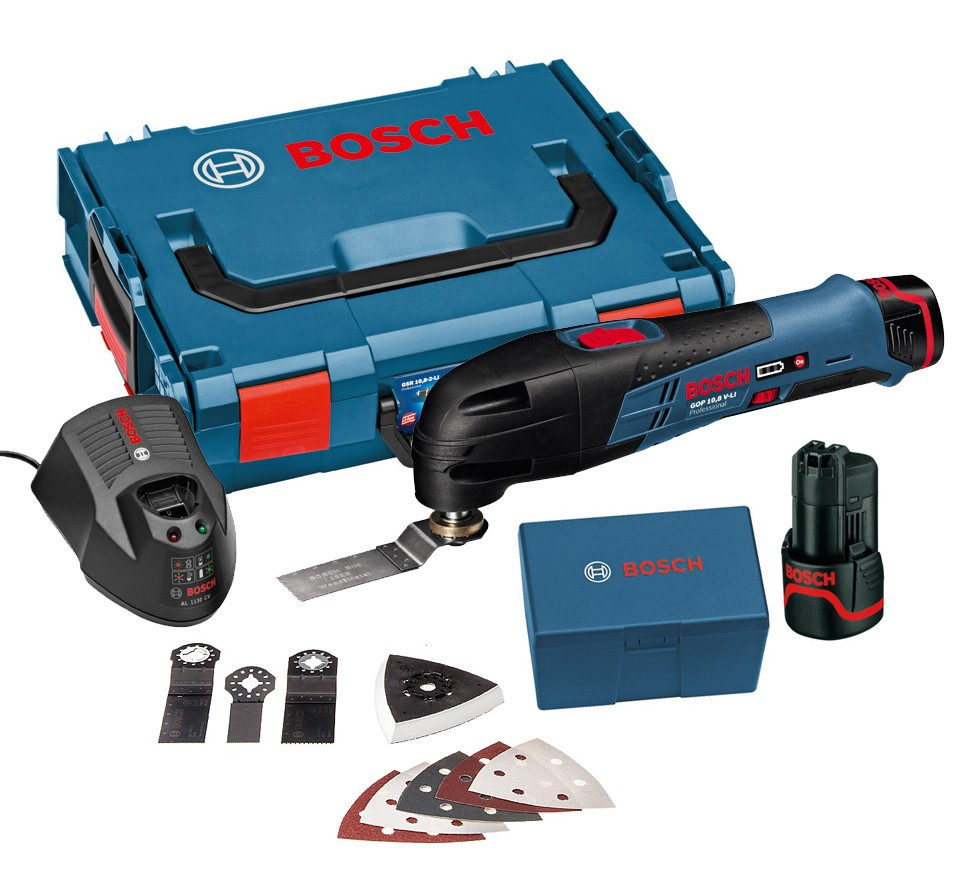 Bosch GOP 10.8 V-LI Multi Cutter inc 2x 1.5Ah Batt + 8 Accessories in L-Boxx
