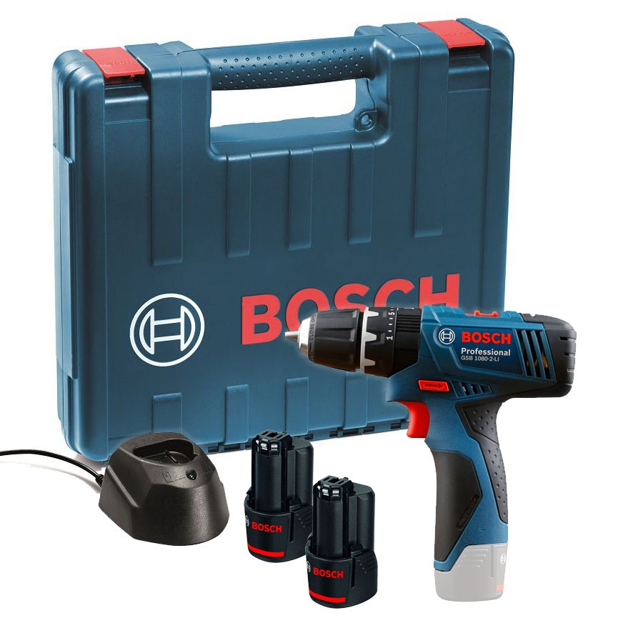 Bosch gsb 1080 2 li cordless combi drill inc 2x 1 5ah batteries al 1110 cv charger and - Bosch 10 8 v ...