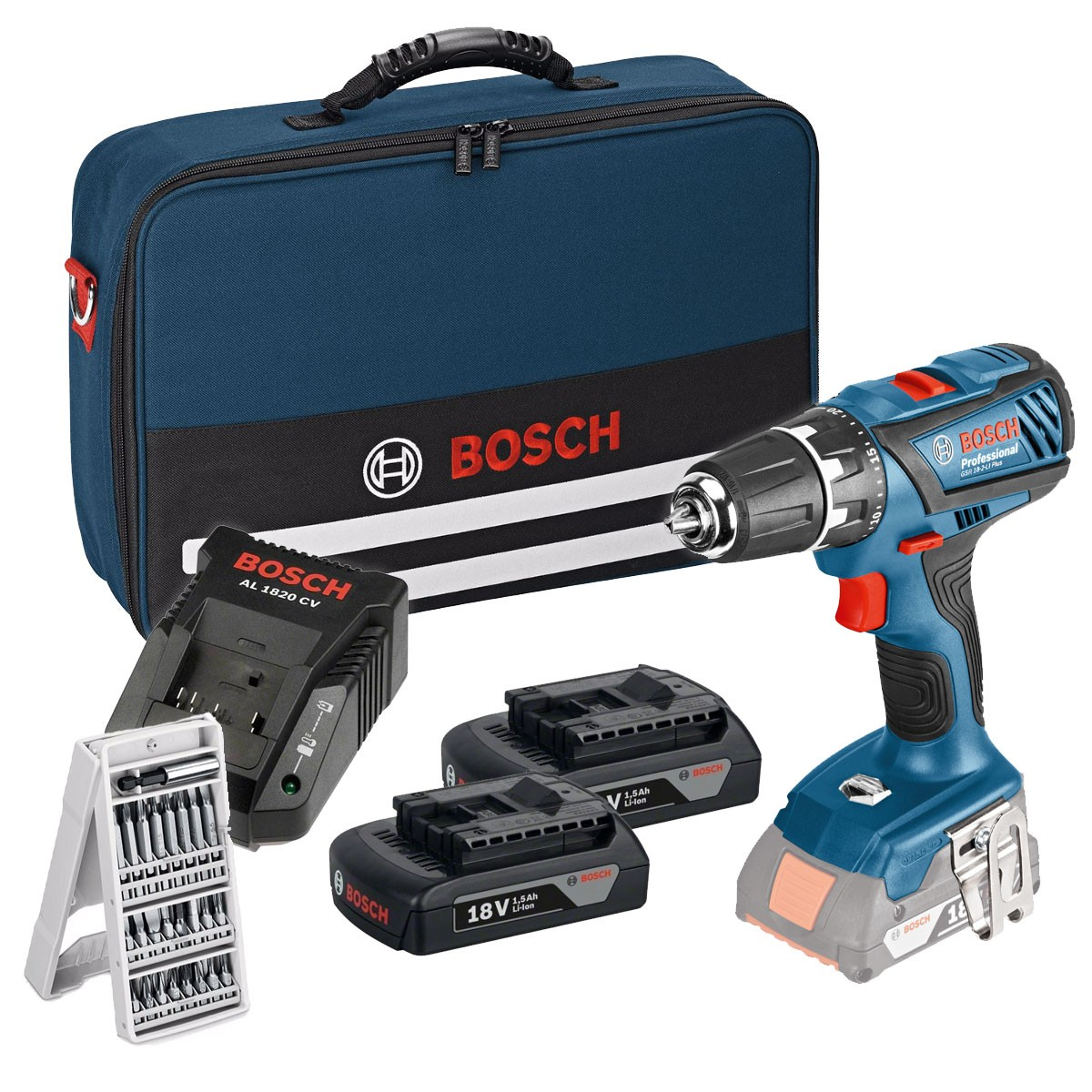 bosch gsb 18 2 li plus 18v combi drill inc 2x 1 5ah batteries in bag powertool world. Black Bedroom Furniture Sets. Home Design Ideas