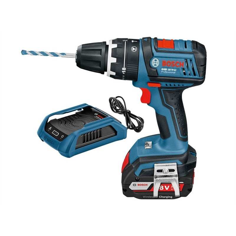 bosch gsb 18 v li combi drill inc 2x 2 0ah wireless charging powertool world. Black Bedroom Furniture Sets. Home Design Ideas