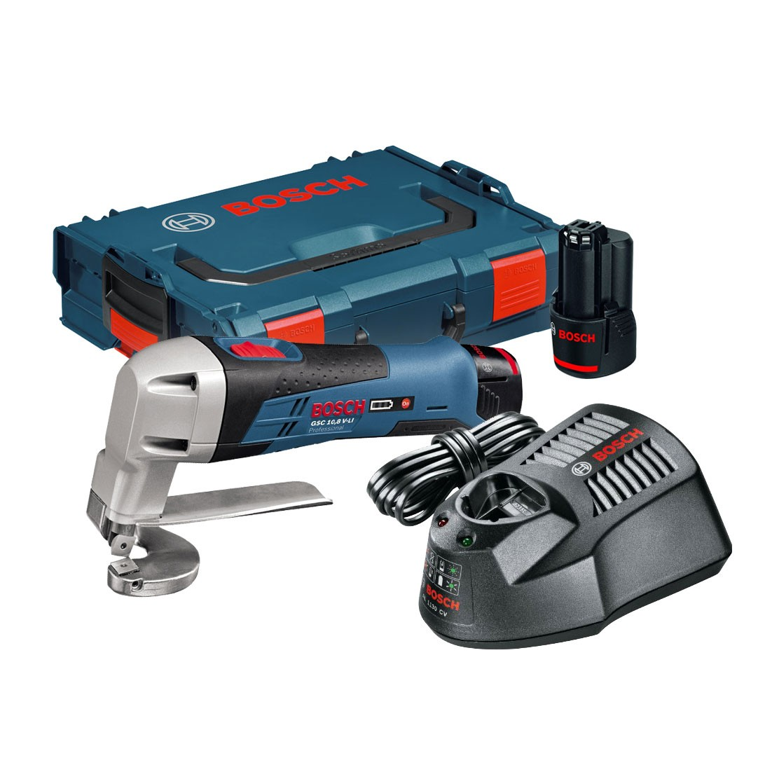 Bosch GSC 10.8 V-LI Cordless Metal Shear inc 2x 2.0Ah Batts
