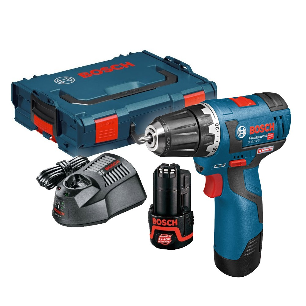 bosch gsr 10 8 v ec 12v 20 professional brushless drill driver inc 2x 2 0ah batteries charger. Black Bedroom Furniture Sets. Home Design Ideas