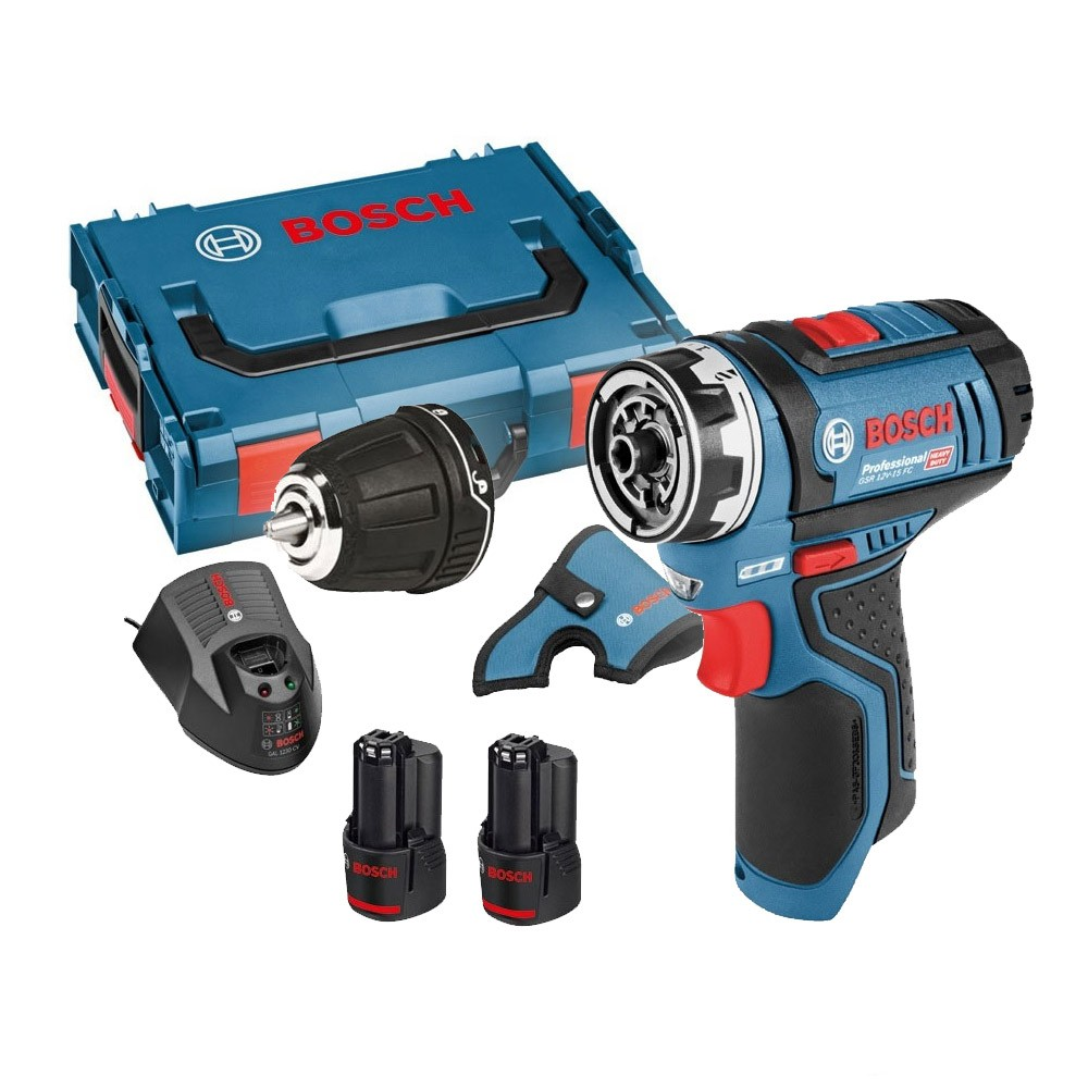 bosch gsr 12v 15 fc 12v flexiclick drill driver with gfa 12 b chuck 2x 2 0ah batteries. Black Bedroom Furniture Sets. Home Design Ideas