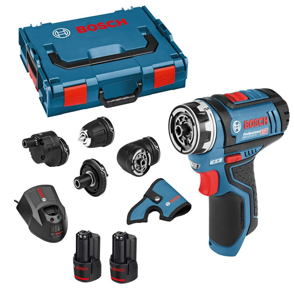 bosch gsr 12v 15 fc 12v flexiclick drill driver with 4x. Black Bedroom Furniture Sets. Home Design Ideas