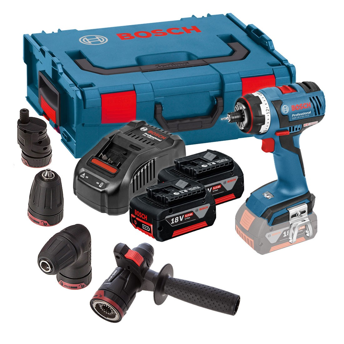 bosch gsr 18 v ec fc2 flexiclick brushless drill driver with 4x chucks 2x 5 0ah batteries gal. Black Bedroom Furniture Sets. Home Design Ideas