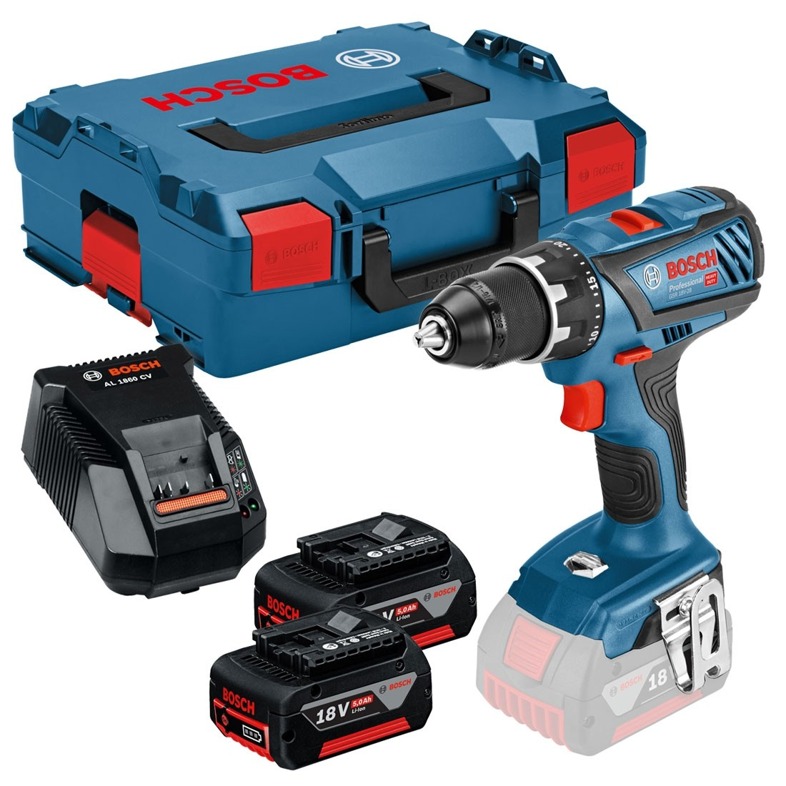 bosch gsr 18 v 28 drill driver inc 2x 5 0ah batteries. Black Bedroom Furniture Sets. Home Design Ideas