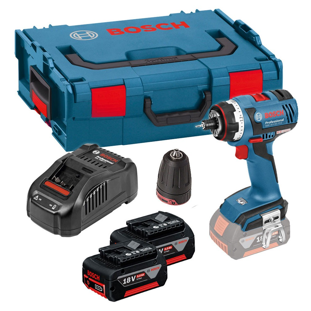 bosch gsr 18 v ec fc2 flexiclick brushless drill driver with gfa 3 jaw chuck 2x 5 0ah. Black Bedroom Furniture Sets. Home Design Ideas