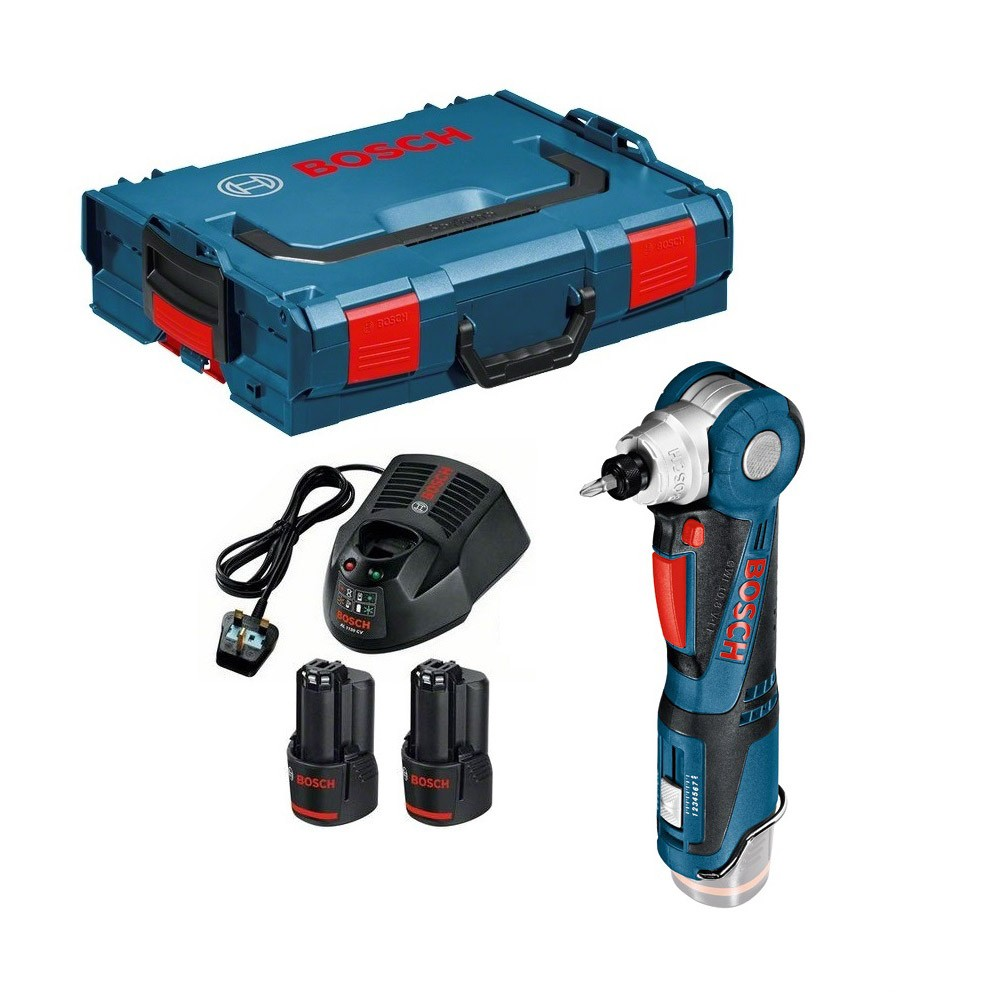 Bosch gwi 10 8 v li 12v 5 cordless angle screwdriver inc 2x 2 0ah batteries charger and l - Bosch 10 8 v ...