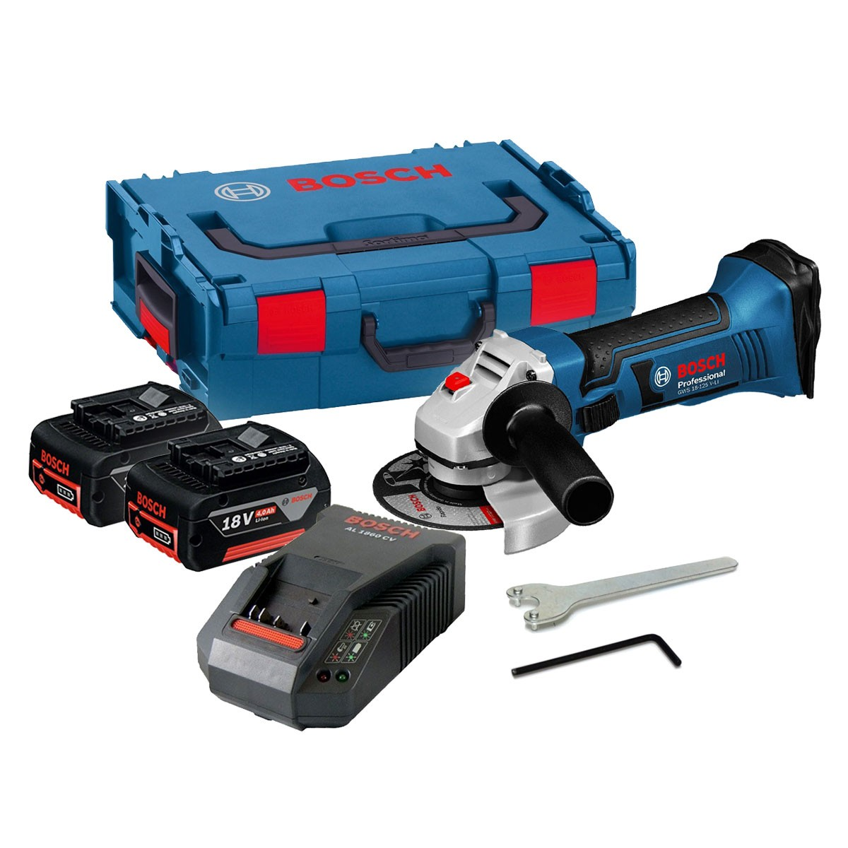 bosch gws 18 125 v li angle grinder inc 2x 4ah batt powertool world. Black Bedroom Furniture Sets. Home Design Ideas