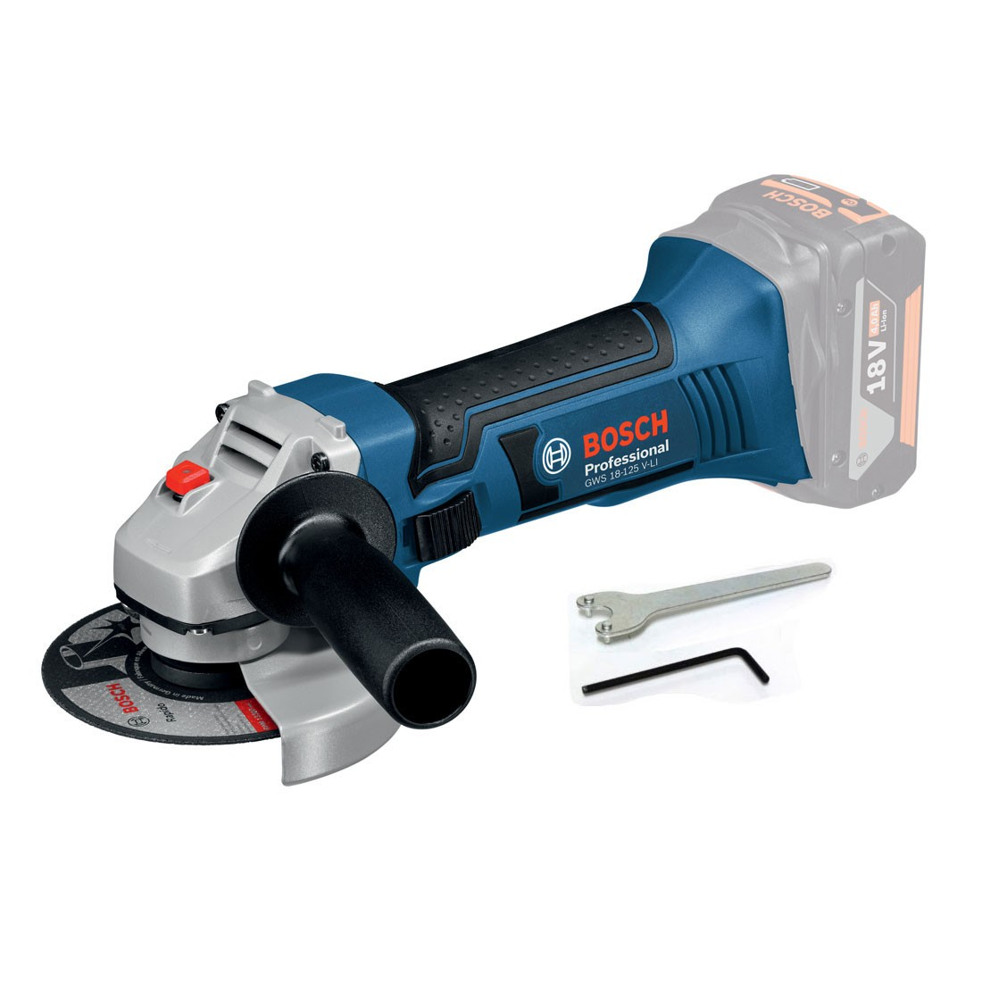 bosch gws 18 125 v li professional angle grinder body only in carton powertool world. Black Bedroom Furniture Sets. Home Design Ideas